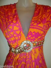 Sky Clothing Brand S Dress Rhinestone Crystal Belt Tropical Pink Holiday Party