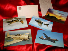 US AIR FORCE MILITARY AIRPLANES 7 Old Historic POSTCARDS Color! PILOT POEM & USO