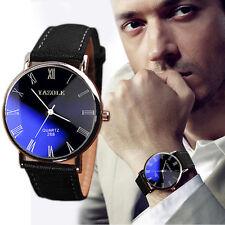 Luxury Fashion Faux Leather Mens Watch Quartz Analog Watch Watches Flash Sale