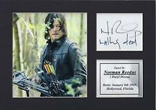 Norman Reedus Autograph Signed Card Display Daryl Dixon The Walking Dead PP
