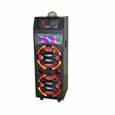 QFX SBX-410208 PA Speaker w/Bluetooth/EQ/FM/USB/SD-In/Lights/Remote Karaoke