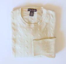 Men's 100% Pure Cashmere Sweater Sz Large Daniel Cremieux Ivory Cable Long Slv