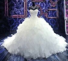 Luxury white/ Ivory Wedding Dress Layer Organza Strapless A-line  Bridal Gowns