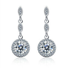 Women's Fashion Round Zircon Drop/Dangle Earrings 10KT White Gold Filled Jewelry