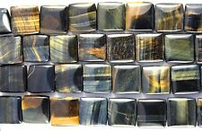 GORGEOUS DEEP RICH BLUE & GOLD AFRICAN TIGER'S EYE 18MM SQUARE BEADS TIGEREYE