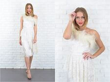 Vtg 80s Ivory Lace Retro Dress Feather One Shoulder Asymmetrical  XS Wedding