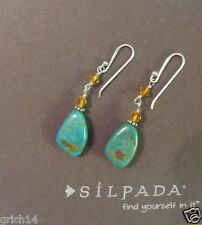 Silpada Turquoise, Golden Crystal, Sterling Silver Drop Earrings W1290 RETIRED