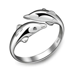 Fashion New 925 Silver Plated Double Dolphin Opening Adjustable Rings Gift
