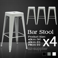 Bar Stool Kitchen Cafe Chair Metal Steel Tall Gloss Home Office Silver 4pcs