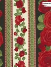 Glamour Red Roses Cotton Quilt fabric Timeless Treasures 5050 Rose Border Stripe