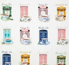 High Tea Tea Canisters Caddy Panel Quilting Fabric - 60cm x 110cm - Benartex