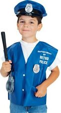 Kids Boys Police Officer Costume Kit Girl Childs Halloween Child Hat Vest Club