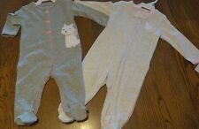 Size 6 Months Carter's Infant Baby Girls Lot of 2 Kitty Cat  Footed Sleepers