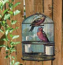 Vintage Bird Cage Metal Shaped Sign with birds Garden Sign  Fully Weatherproof