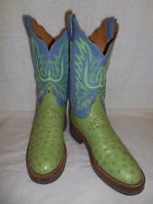 Lucchese 2000 Full Quill Ostrich Pistacio & Blue Crepe Sole Cowboy Boots 8 B