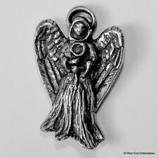 Standing Angel Pewter Brooch Pin-British Artisan Signed Badge- Gabriel, Theology