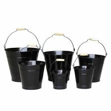 16cm Black Zinc Bucket/Metal/Tin/Container/Storage/Flower Pot/Home/Garden
