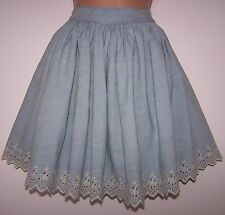 BNWT RALPH LAUREN CHAMBRAY DENIM EMBROIDERED FULL CIRCLE GATHERED SKIRT 12UK 32W