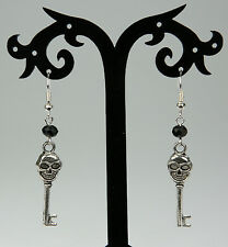 Gothic silver skull key drop earrings, silver-plated hooks, black crystals