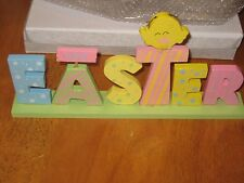 Happy Easter Wooden rabbit sign with sparkly nose