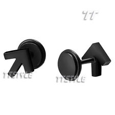 TTstyle Black Surgical Steel Direction Sign Fake Ear Plug Earrings