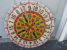 Colorful 1940s Carnival Gambling Wood Game Wheel w RIGGED or Gaffed CHEAT Device