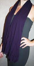 ladies aubergine scarf long deep purple flounced VGC good quality