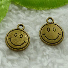free ship 240 pieces bronze plated smiling face charms 16x13mm #3833