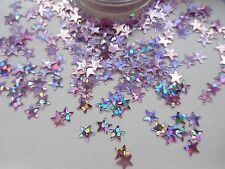 NAIL ART BRILLANTINI ROSA SILVER OLOGRAFICA * Stars * POT Spangle Glitter Decorazione
