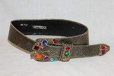 LEATHEROCK~Gold~REPTILE Embossed WIDE BELT~Colorful Jewels~SMALL Medium~BLING!!