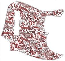 J Bass Pickguard Custom Fender Graphic Graphical Guitar Pick Guard Paisley WH-RD