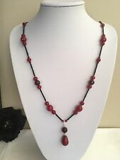 """31"""" Art Deco Inspired Ruby Red Agate & Black Coral Pendant Necklace 925 Silver"""