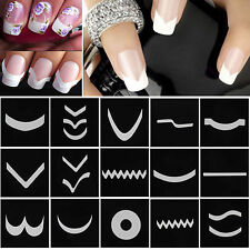 15 Sheets/Set French Manicure DIY Nail Art Tips Guides Stickers Stencil Strips