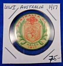 Original WWI WW1 Military 1917 Australia Day Wales Pin Pinback Button