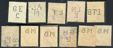 11x GREAT BRITAIN King George VI Postage Stamps - Perfin Cancels - Used