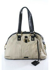 AUTH YVES SAINT LAURENT Beige Canvas Gold Tone Black Accent Shoulder Handbag