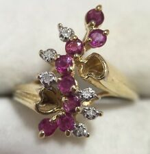 Vintage 14k Yellow Gold Ruby Diamond Heart Journey Wedding Cocktail 14kp Ring 7