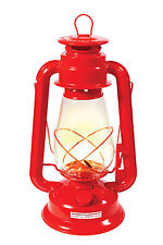 "12"" Kerosene Lantern With Glass Globe - Red - Adjustable Wick - Camping, Hiking"