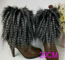 Ladys Black and White leg warmer faux fur dancing shoes cover cloth socks 20cm