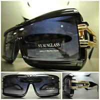 CLASSIC VINTAGE Cool RETRO SHIELD Style PARTY RAVE SUNGLASSES Black & Gold Frame