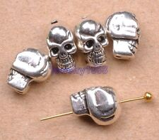 20pcs Tibetan Silver Charms Skull Head Spacer Beads 10X8MM