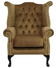 Chesterfield Queen Anne High Back Fireside Wing Chair Perla Bronze Velvet