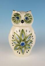 Vintage Los Angeles Potteries Owl Cookie Jar Pottery Blue Green California Art