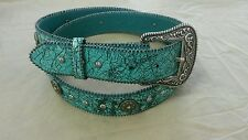 Nice Looking Ladies Leather Fancy Western Turquoise Belt By Roper Studs Medium