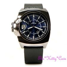 Retro Square Blue Designer Hematite Pl & Black Leather Chunky Date Display Watch