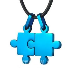 Puzzle Autism or Couple's Blue Stainless Steel Pendant Necklace