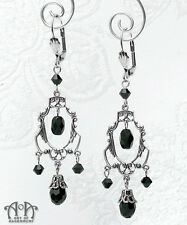 Gothic Antique Silver BLACK CRYSTAL CHANDELIER EARRINGS Victorian Filigree E06