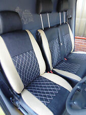 MERCEDES SPRINTER VAN 2006 SEAT COVERS BEIGE CROSS STITCH - FULL LEATHERETTE