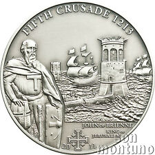 5th Crusade - JOHN OF BRIENNE - Antique Finish Silver Coin 2011 Cook Islands