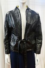 NEW CHRISTIAN LACROIX COUTURE JACKET RUNWAY BLACK GLOSSY BELTED 42 08 MEDIUM